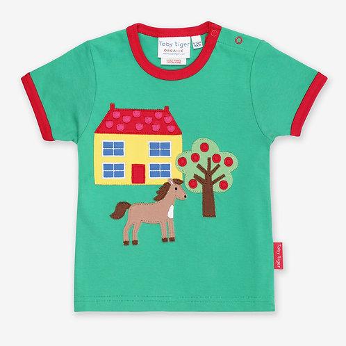 Toby Tiger Organic Animal Farm Applique Tshirt