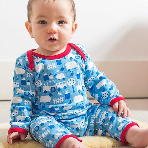 Toby Tiger Organic Farm Print Sleepsuit, Pale Blue