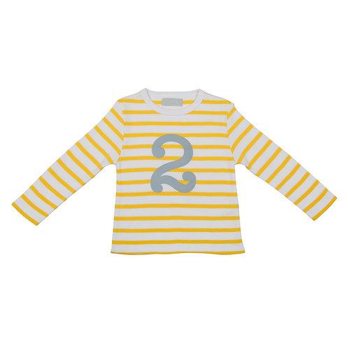 Bob & Blossom Yellow & White Breton Stripe Number Tshirt