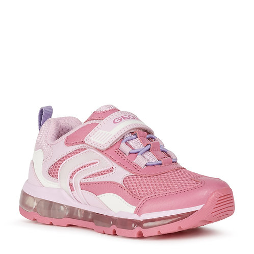 Geox J Android G Casual Sport Light Up Trainers, Fuchsia & Pink