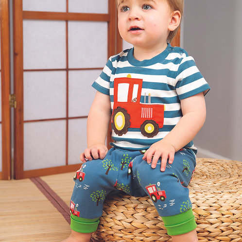 Frugi Little Wheels Applique Top, Steely Blue Stripe/Tractor