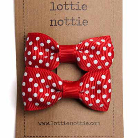 Lottie Nottie Pair of Small Bows, Red Swiss Dot