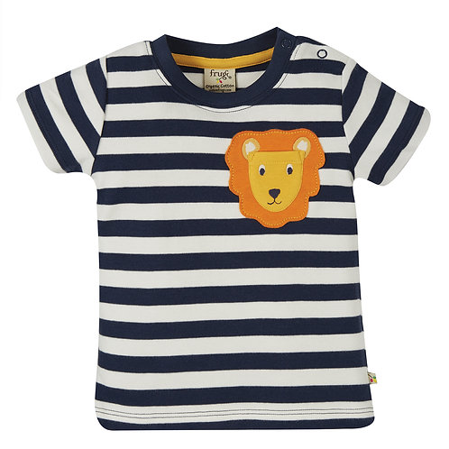 Frugi Polzeath Pocket Top, Indigo Stripe/Lion