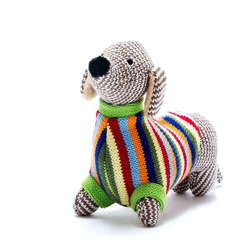 Best Years Knitted Sausage Dog Striped Rattle