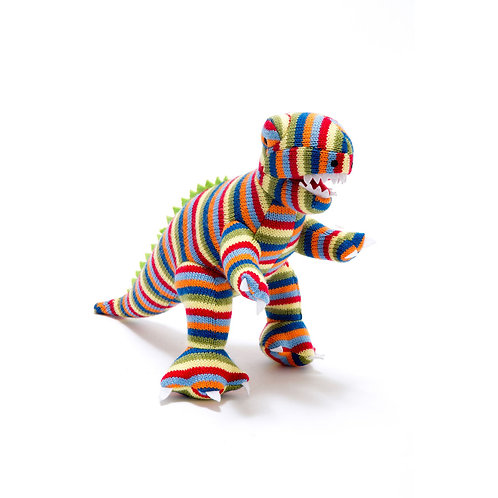 Best Years Small Striped Knitted T-rex Rattle