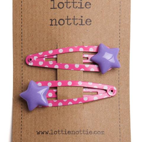 Lottie Nottie Hair Clips, Purple Stars on Pink Spotty