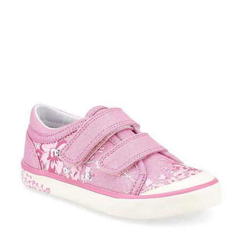 Startrite Flower Pink Glitter Floral Canvas