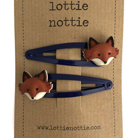 Lottie Nottie Hair Clips, Fox on Navy