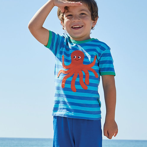 Toby Tiger Organic Octopus Applique Tshirt