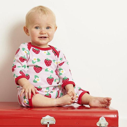 Toby Tiger Organic Strawberry Print Sleepsuit