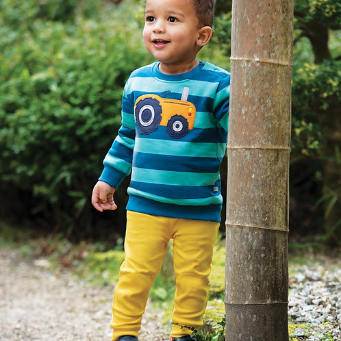 Frugi Jump About Jumper, Pacific Aqua Stripe/Tractor