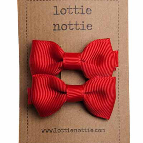 Lottie Nottie Pair of Small Bows, Solid Red