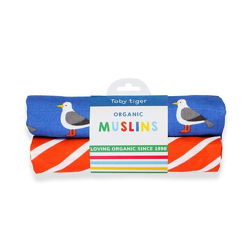 Toby Tiger Organic Seagull 2-Pack Muslins
