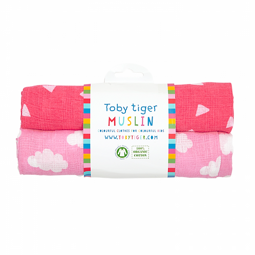 Toby Tiger Pink Cloud Muslin 2 Pack