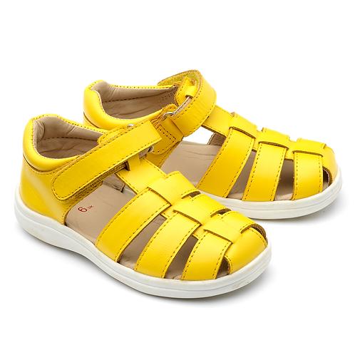 Chipmunk Noah Leather Sandal, Yellow