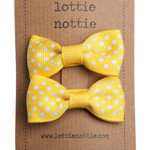 Lottie Nottie Pair of Small Bows, Yellow Swiss Dot