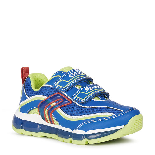 Geox J Android Light Up Active Trainers, Blue & Lime