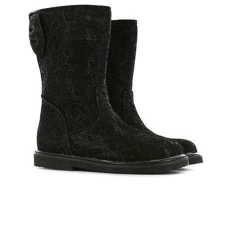 Shoesme CC20W001-C Black Boots with Animal Print Design