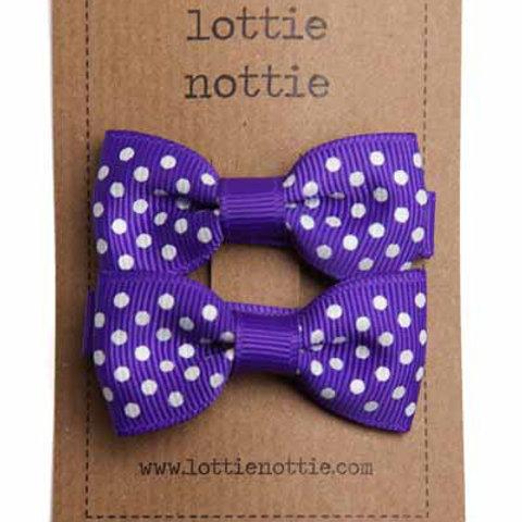 Lottie Nottie Pair of Small Bows, Purple Swiss Dot