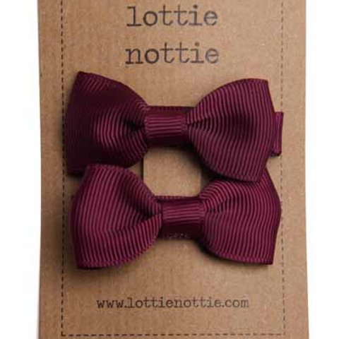 Lottie Nottie Pair of Small Bows, Solid Burgundy