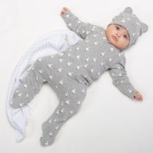 Kite Polka Duck Sleepsuit, Grey Marl