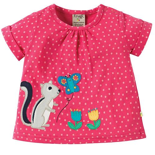 Frugi Fiona T-Shirt, Pink Spot/Chimunk