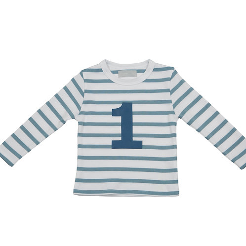Bob & Blossom Ocean Blue & White Breton Striped Number Tshirt
