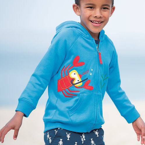 Frugi Lucas Zip Up Hoody, Motosu Blue/Lobster