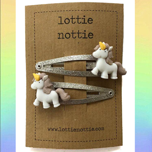 Lottie Nottie Unicorn on Silver Sparkle Hair Clips