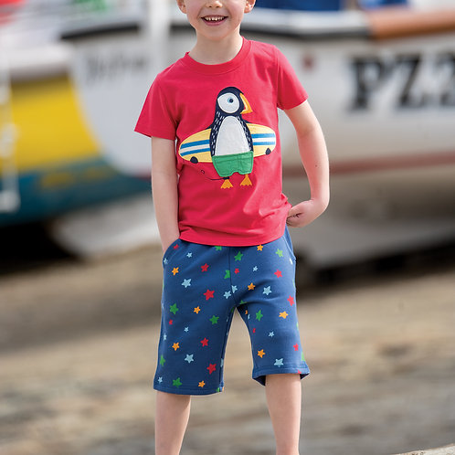 Frugi Stanley Applique T-Shirt, Tomato/Puffin
