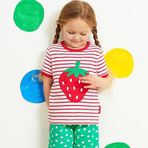 Toby Tiger Organic Strawberry Applique Tshirt