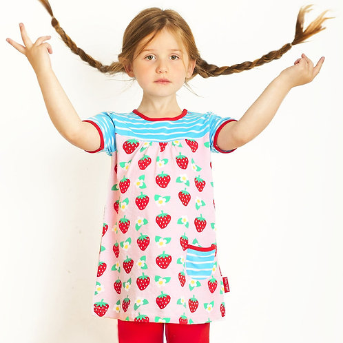 Toby Tiger Organic Strawberry Print Dress
