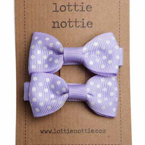 Lottie Nottie Pair of Small Bows, Lilac Swiss Dot