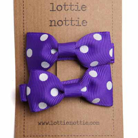 Lottie Nottie Pair of Small Bows, Purple & White Polka Dot