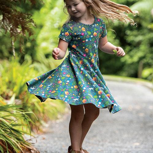 Frugi Spring Skater Dress, Indigo Farm