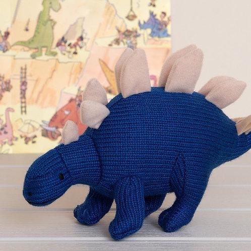 Best Years Knitted Stegosaurus Dinosaur Rattle, Blue