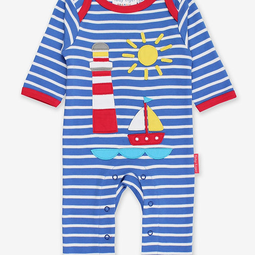 Toby Tiger Organic Seaside Applique Sleepsuit