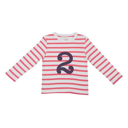 Bob & Blossom Coral Pink & White Breton Stripe Number Tshirt