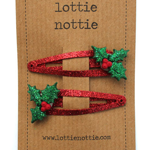 Lottie Nottie Hair Clips, Holly on Red Sparkle
