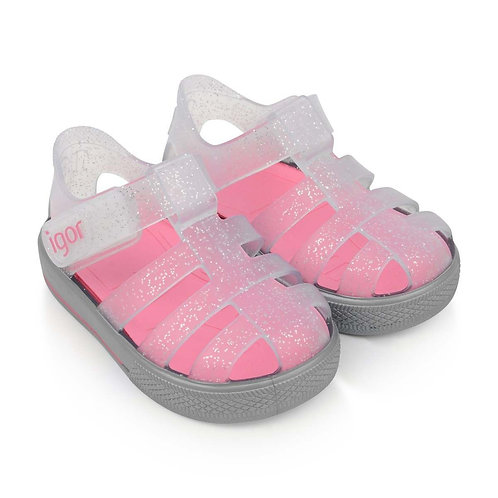 Igor Star Jelly Shoes, Silver Glitter