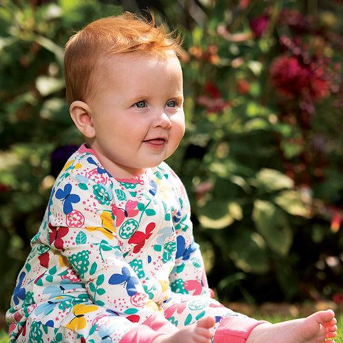 Frugi Summer Zip Babygrow, Mini Butterflies