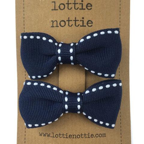 Lottie Nottie Pair of Small Bows, Navy & White Stitch