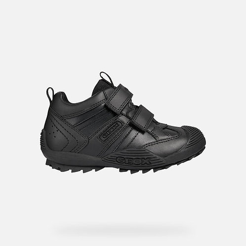 Geox Savage Black Leather School Shoe