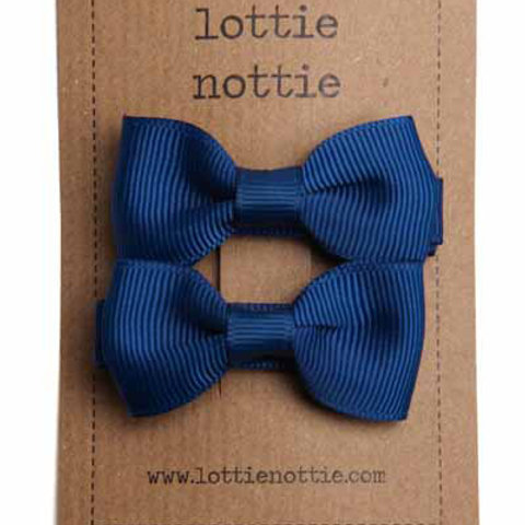 Lottie Nottie Pair of Small Bows, Solid NavyBlue