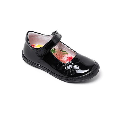Petasil Donna Black Patent School Shoe