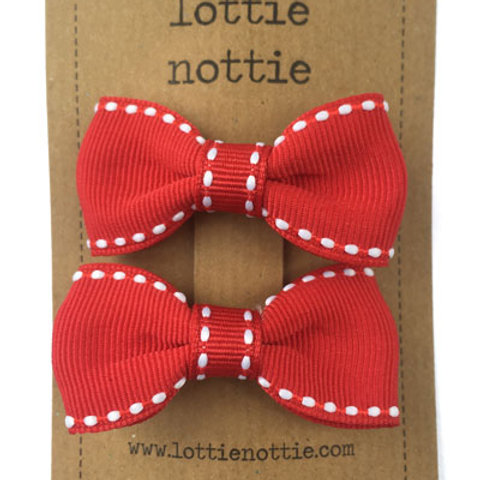 Lottie Nottie Pair of Small Bows, Red & White Stitch