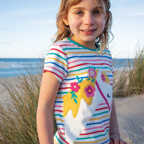 Frugi Camille Applique T-Shirt, Multistripe/Horse