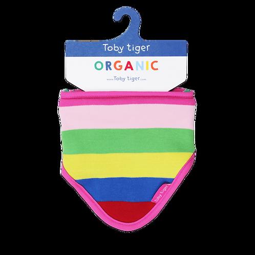 Toby Tiger Organic Pink Multi Stripe Bib