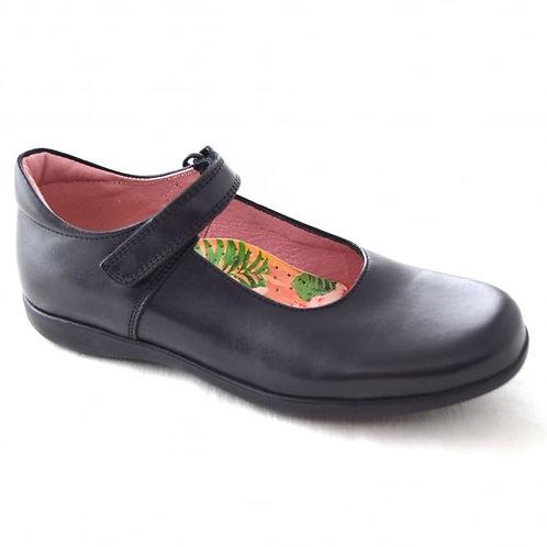 Petasil Bea Black Leather School Shoe