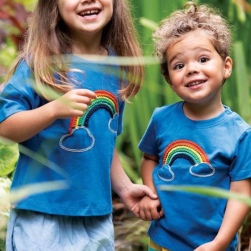 Frugi Myla T-Shirt, Cobalt/Rainbow